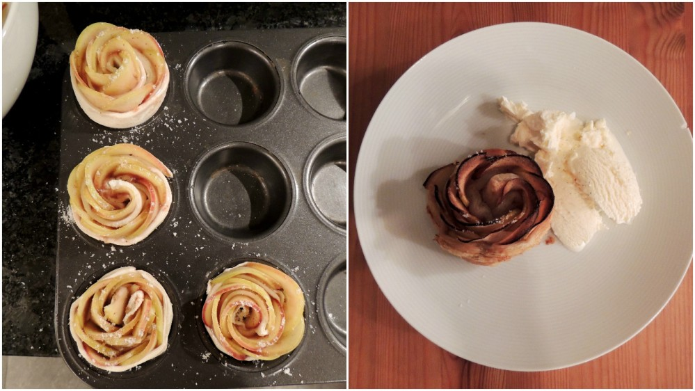 Apple roses before after